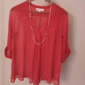 ❤️Olive and Oak women's red shear blouse sz M